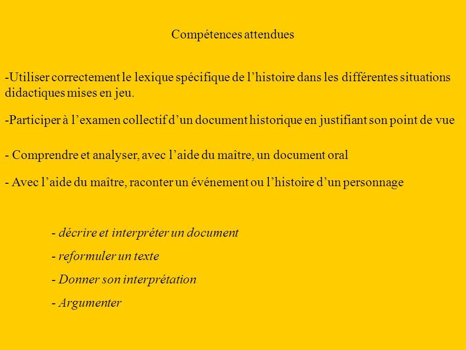 Compétences attendues -Utiliser correctement le lexique spécifique de lhistoire dans les différentes situations didactiques mises en jeu. - décrire et