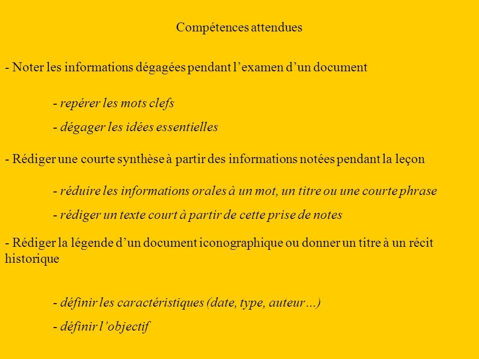 Compétences attendues - Noter les informations dégagées pendant lexamen dun document - Rédiger une courte synthèse à partir des informations notées pe