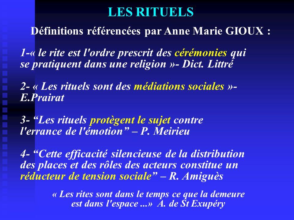 1-« le rite est l'ordre prescrit des cérémonies qui se pratiquent dans une religion »- Dict. Littré 2- « Les rituels sont des médiations sociales »- E