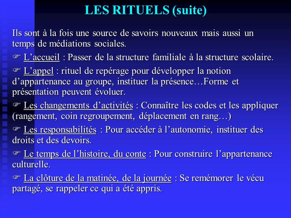 LES RITUELS (suite) Ils sont à la fois une source de savoirs nouveaux mais aussi un temps de médiations sociales.