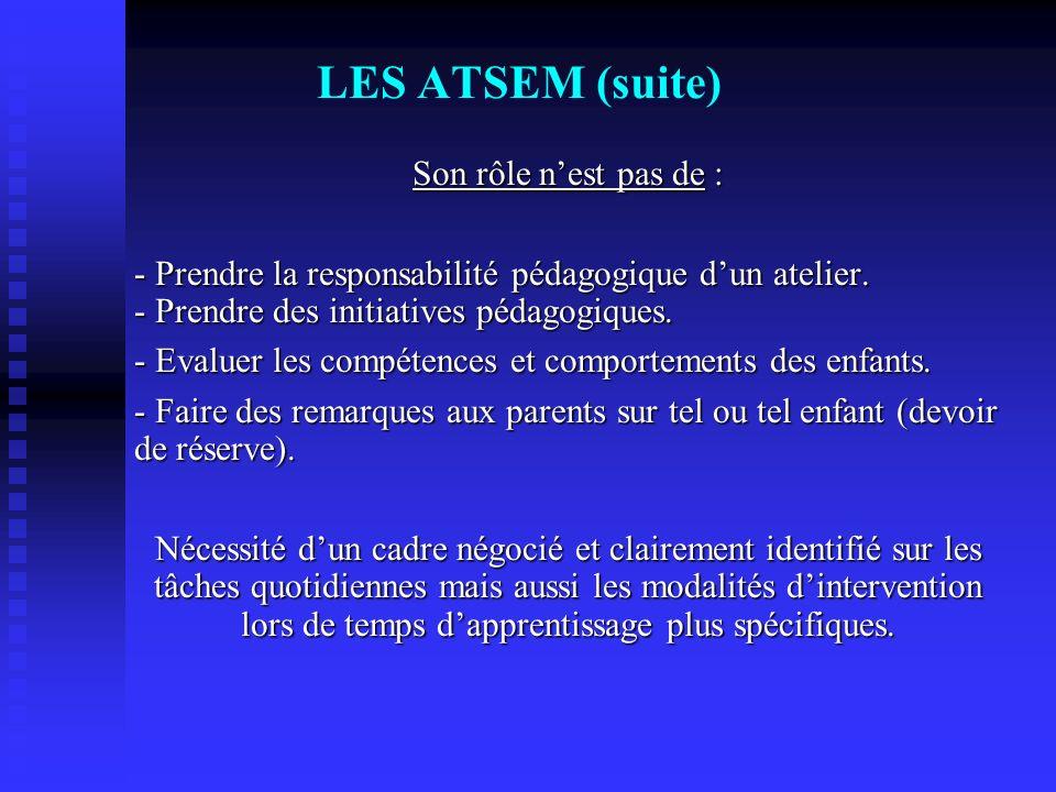 LES ATSEM (suite) Son rôle nest pas de : - Prendre la responsabilité pédagogique dun atelier. - Prendre des initiatives pédagogiques. - Evaluer les co
