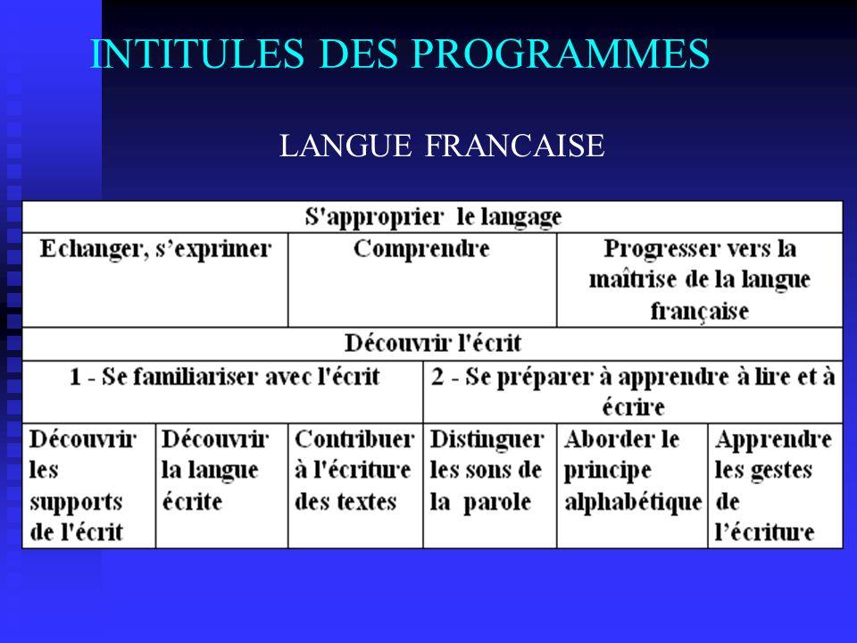 INTITULES DES PROGRAMMES LANGUE FRANCAISE