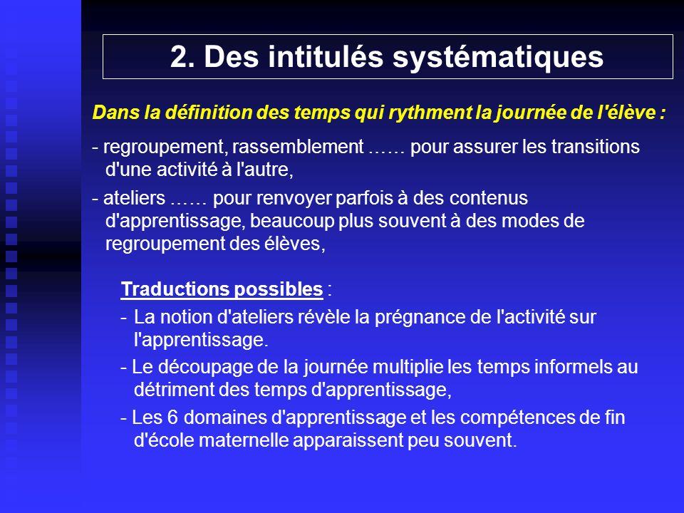 2. Des intitulés systématiques Dans la définition des temps qui rythment la journée de l'élève : - regroupement, rassemblement …… pour assurer les tra