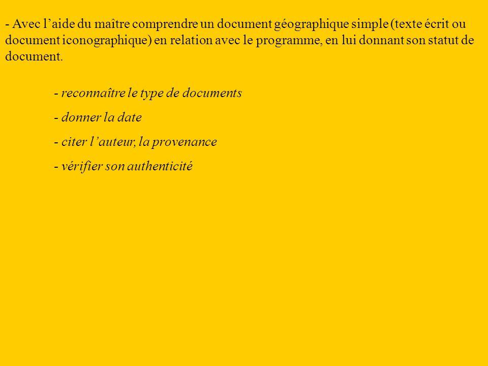 - Avec laide du maître comprendre un document géographique simple (texte écrit ou document iconographique) en relation avec le programme, en lui donna