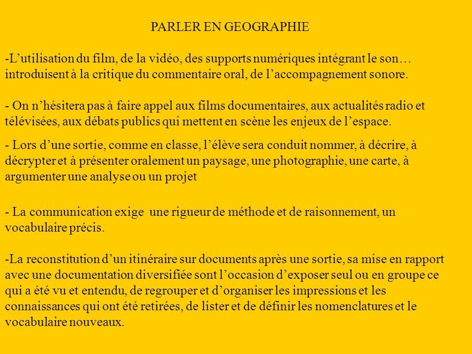 Compétences attendues -Utiliser correctement le lexique spécifique de la géographie dans les différentes situations didactiques mises en jeu.