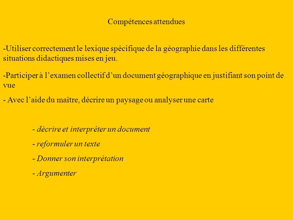 Compétences attendues -Utiliser correctement le lexique spécifique de la géographie dans les différentes situations didactiques mises en jeu. - décrir