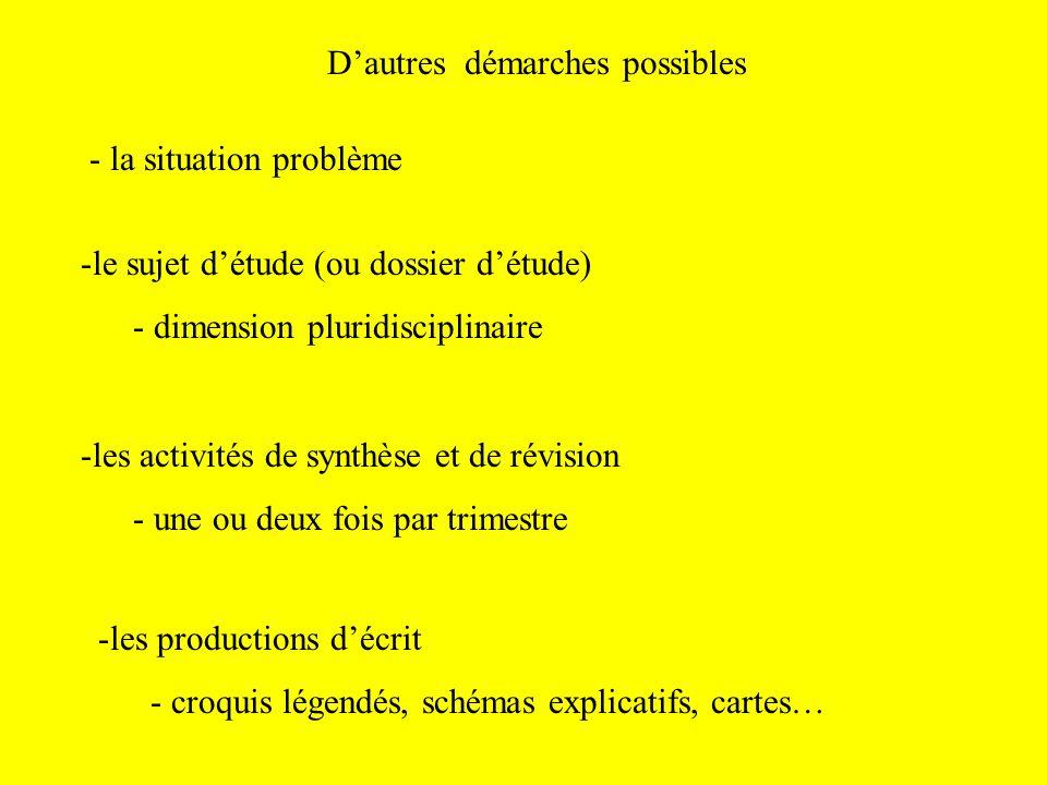 Dautres démarches possibles - la situation problème -le sujet détude (ou dossier détude) - dimension pluridisciplinaire -les activités de synthèse et