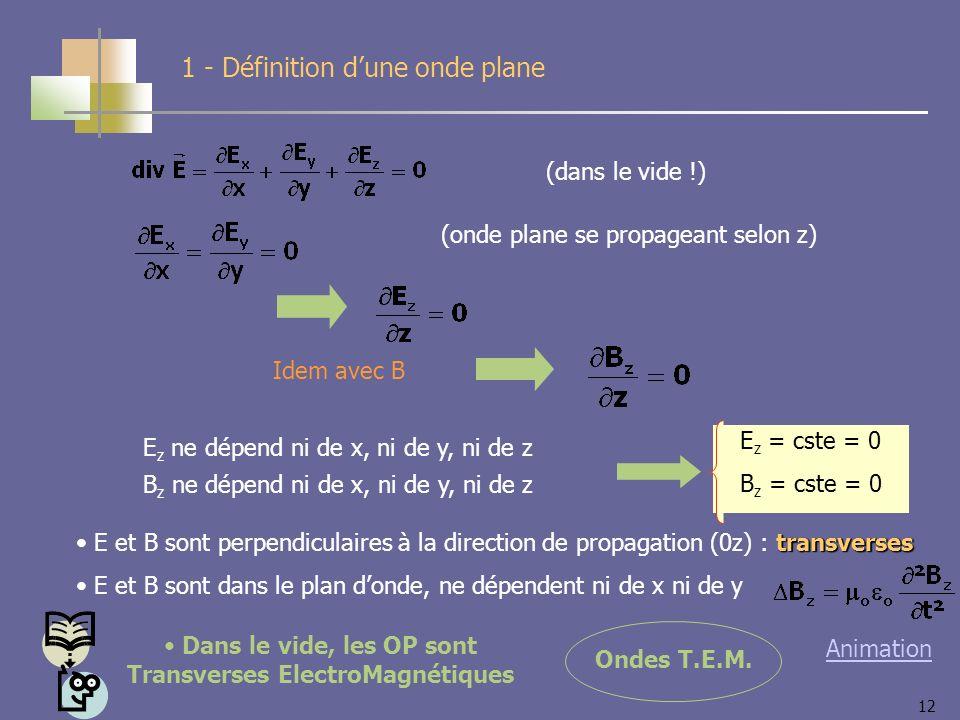 12 (dans le vide !) (onde plane se propageant selon z) Idem avec B transverses E et B sont perpendiculaires à la direction de propagation (0z) : transverses E et B sont dans le plan donde, ne dépendent ni de x ni de y Ondes T.E.M.