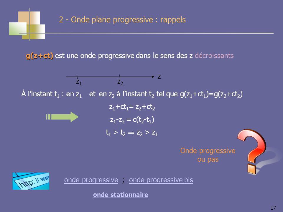 17 2 - Onde plane progressive : rappels g(z+ct) g(z+ct) est une onde progressive dans le sens des z décroissants z z1z1 z2z2 À linstant t 1 : en z 1 et en z 2 à linstant t 2 tel que g(z 1 +ct 1 )=g(z 2 +ct 2 ) z 1 +ct 1 = z 2 +ct 2 z 1 -z 2 = c(t 2 -t 1 ) t 1 > t 2 z 2 > z 1 onde stationnaire onde progressiveonde progressive ; onde progressive bisonde progressive bis Onde progressive ou pas