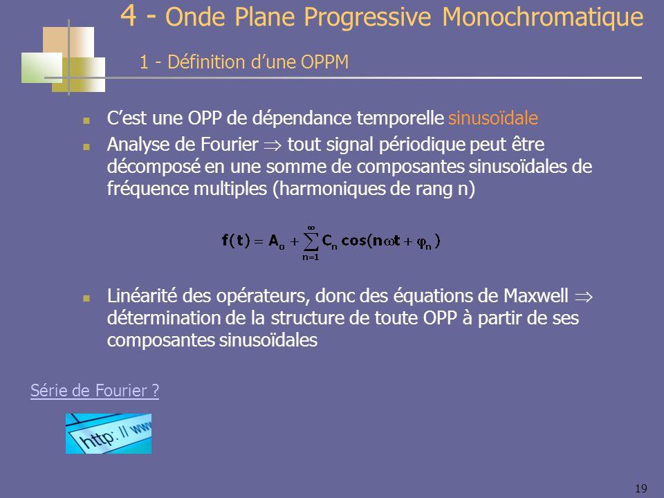 19 4 - Onde Plane Progressive Monochromatique Cest une OPP de dépendance temporelle sinusoïdale Analyse de Fourier tout signal périodique peut être décomposé en une somme de composantes sinusoïdales de fréquence multiples (harmoniques de rang n) Linéarité des opérateurs, donc des équations de Maxwell détermination de la structure de toute OPP à partir de ses composantes sinusoïdales 1 - Définition dune OPPM Série de Fourier