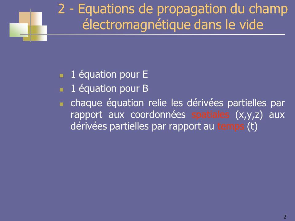 2 2 - Equations de propagation du champ électromagnétique dans le vide 1 équation pour E 1 équation pour B chaque équation relie les dérivées partielles par rapport aux coordonnées spatiales (x,y,z) aux dérivées partielles par rapport au temps (t)
