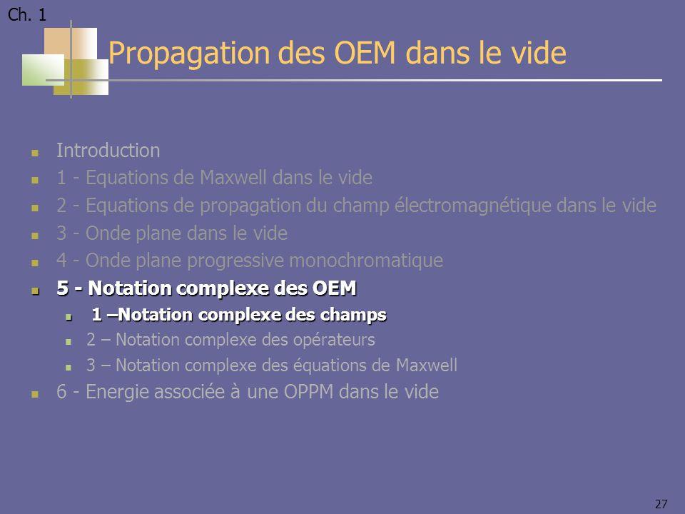 27 Introduction 1 - Equations de Maxwell dans le vide 2 - Equations de propagation du champ électromagnétique dans le vide 3 - Onde plane dans le vide 4 - Onde plane progressive monochromatique 5 - Notation complexe des OEM 5 - Notation complexe des OEM 1 –Notation complexe des champs 1 –Notation complexe des champs 2 – Notation complexe des opérateurs 3 – Notation complexe des équations de Maxwell 6 - Energie associée à une OPPM dans le vide Propagation des OEM dans le vide Ch.