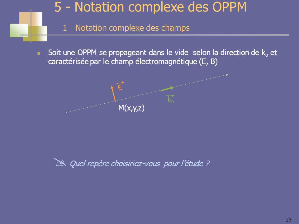 28 Soit une OPPM se propageant dans le vide selon la direction de k o et caractérisée par le champ électromagnétique (E, B) 5 - Notation complexe des OPPM 1 - Notation complexe des champs E M(x,y,z) koko Quel repère choisiriez-vous pour létude