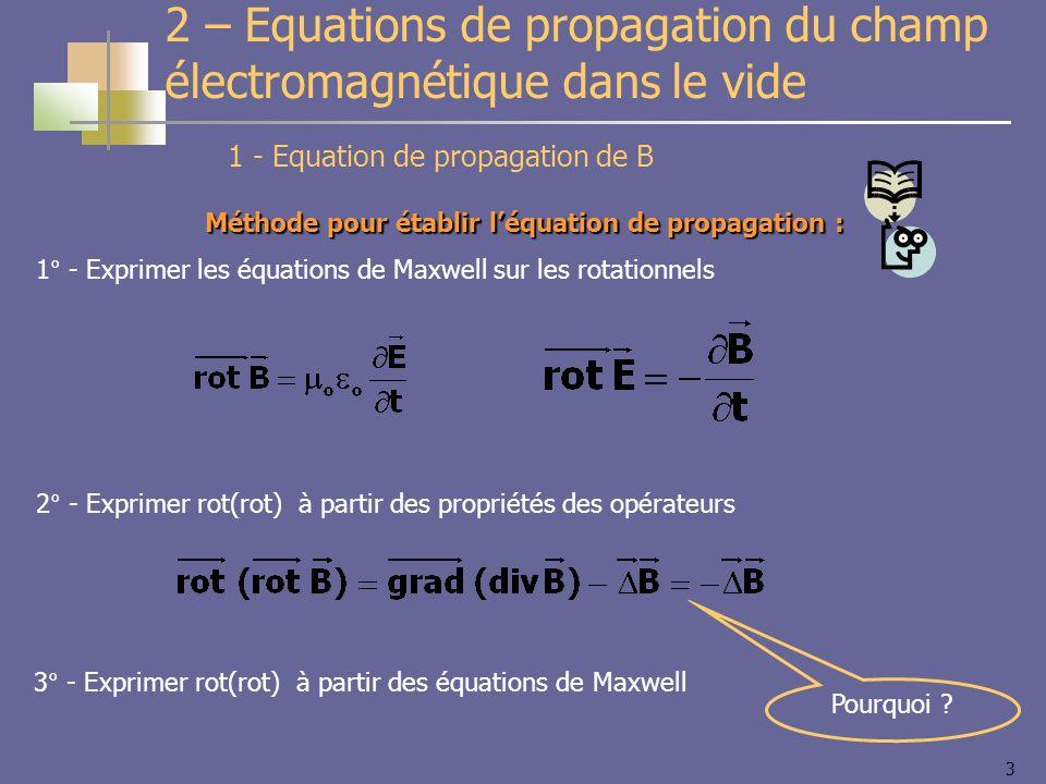 3 1 - Equation de propagation de B 2 – Equations de propagation du champ électromagnétique dans le vide Méthode pour établir léquation de propagation : 1° - Exprimer les équations de Maxwell sur les rotationnels 2° - Exprimer rot(rot) à partir des propriétés des opérateurs 3° - Exprimer rot(rot) à partir des équations de Maxwell Pourquoi