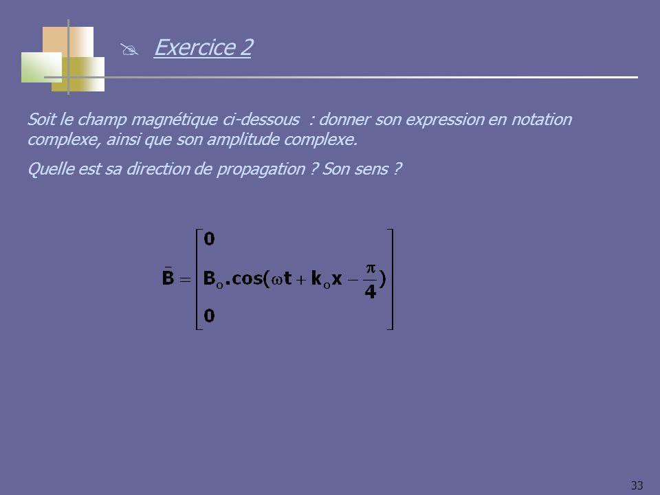 33 Soit le champ magnétique ci-dessous : donner son expression en notation complexe, ainsi que son amplitude complexe.
