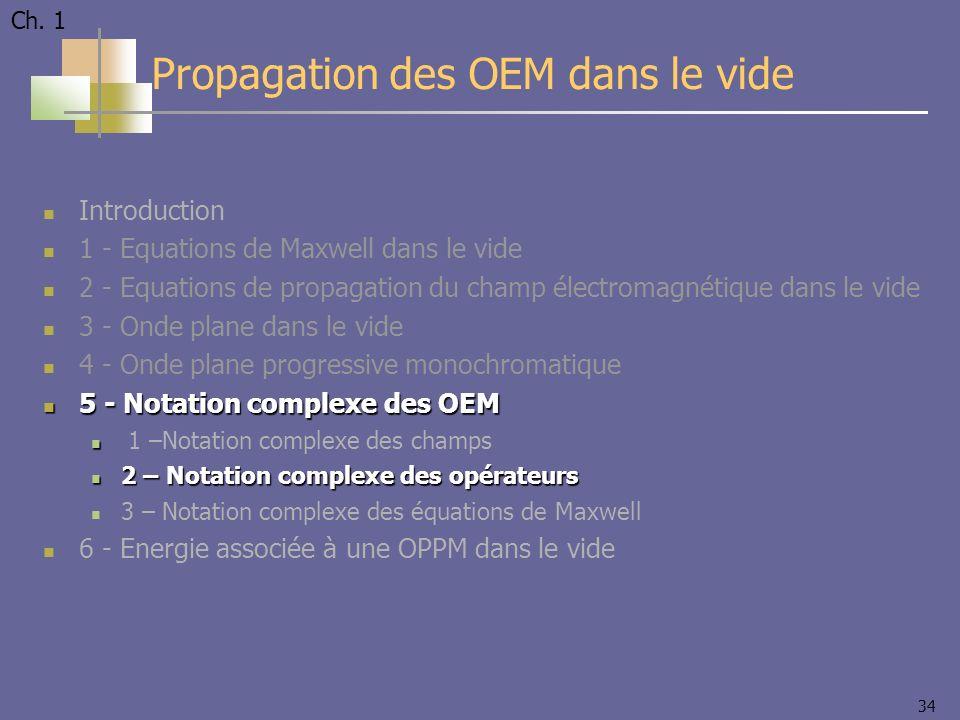 34 Introduction 1 - Equations de Maxwell dans le vide 2 - Equations de propagation du champ électromagnétique dans le vide 3 - Onde plane dans le vide 4 - Onde plane progressive monochromatique 5 - Notation complexe des OEM 5 - Notation complexe des OEM 1 –Notation complexe des champs 2 – Notation complexe des opérateurs 2 – Notation complexe des opérateurs 3 – Notation complexe des équations de Maxwell 6 - Energie associée à une OPPM dans le vide Propagation des OEM dans le vide Ch.