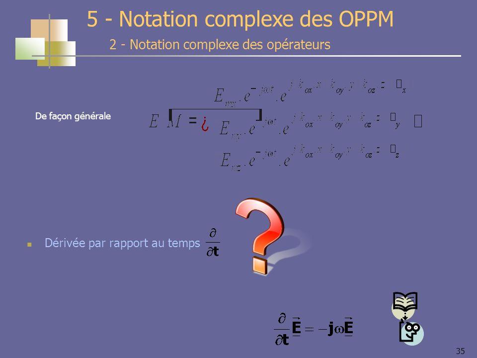 35 2 - Notation complexe des opérateurs 5 - Notation complexe des OPPM Dérivée par rapport au temps De façon générale