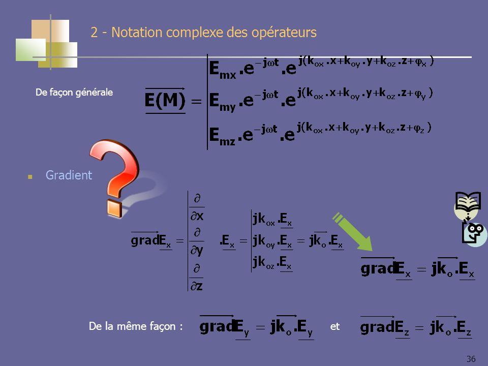 36 2 - Notation complexe des opérateurs Gradient De la même façon :et De façon générale