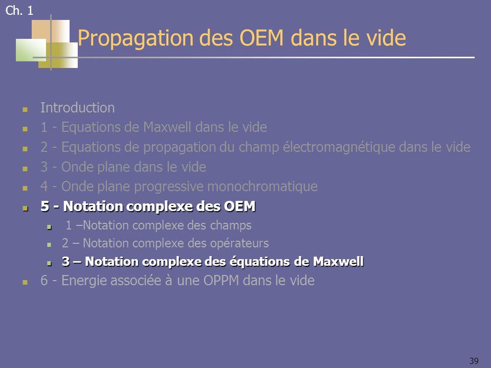 39 Introduction 1 - Equations de Maxwell dans le vide 2 - Equations de propagation du champ électromagnétique dans le vide 3 - Onde plane dans le vide 4 - Onde plane progressive monochromatique 5 - Notation complexe des OEM 5 - Notation complexe des OEM 1 –Notation complexe des champs 2 – Notation complexe des opérateurs 3 – Notation complexe des équations de Maxwell 3 – Notation complexe des équations de Maxwell 6 - Energie associée à une OPPM dans le vide Propagation des OEM dans le vide Ch.