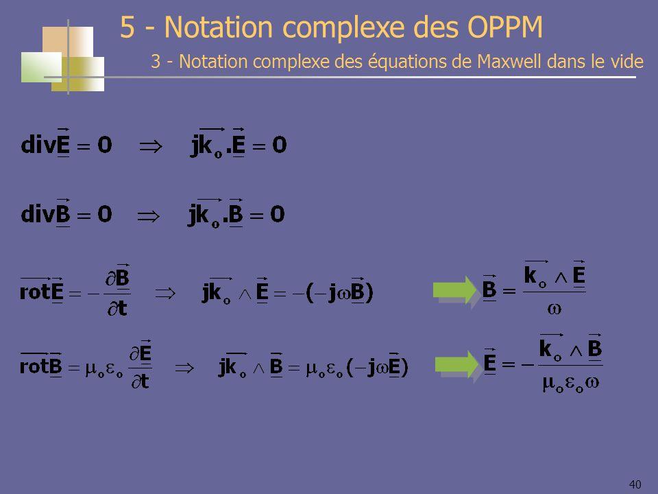 40 3 - Notation complexe des équations de Maxwell dans le vide 5 - Notation complexe des OPPM