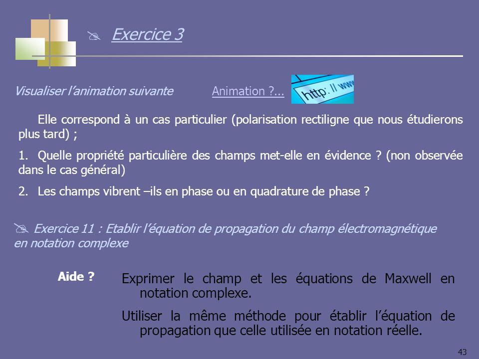 43 Exercice 11 : Etablir léquation de propagation du champ électromagnétique en notation complexe Animation ...