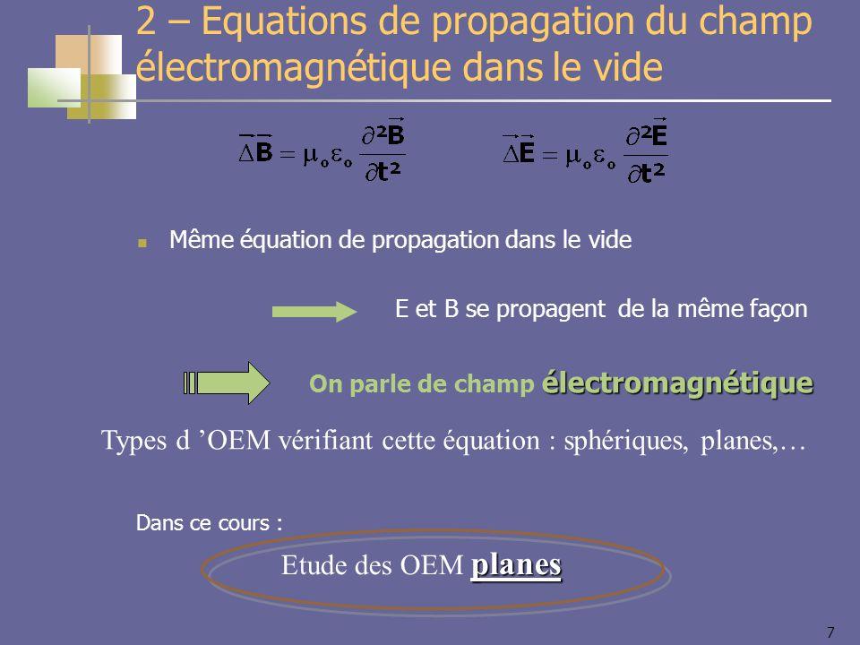 7 Même équation de propagation dans le vide E et B se propagent de la même façon électromagnétique On parle de champ électromagnétique Types d OEM vérifiant cette équation : sphériques, planes,… 2 – Equations de propagation du champ électromagnétique dans le vide planes Etude des OEM planes Dans ce cours :