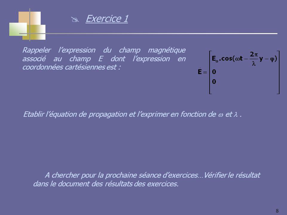 8 Rappeler lexpression du champ magnétique associé au champ E dont lexpression en coordonnées cartésiennes est : Etablir léquation de propagation et lexprimer en fonction de et.