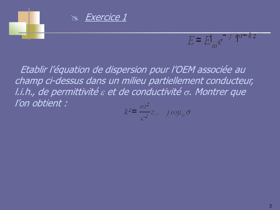 33 Etablir léquation de dispersion pour lOEM associée au champ ci-dessus dans un milieu partiellement conducteur, l.i.h., de permittivité et de conductivité.