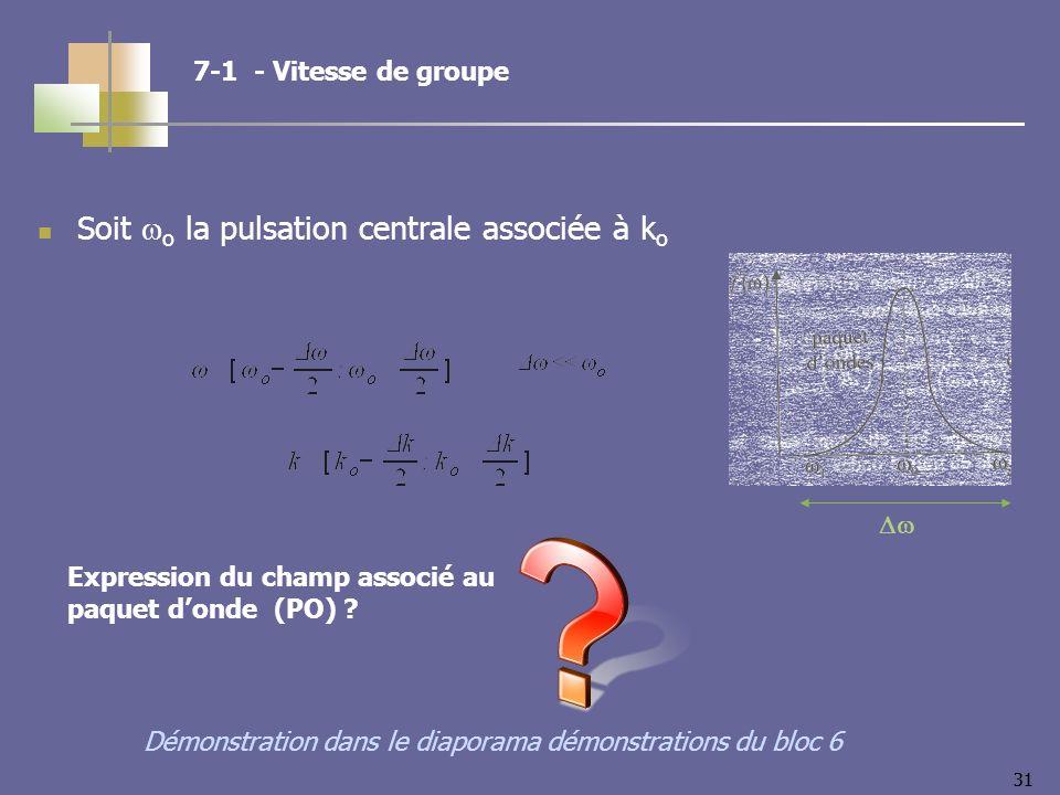 31 Soit o la pulsation centrale associée à k o 7-1 - Vitesse de groupe Démonstration dans le diaporama démonstrations du bloc 6 Expression du champ associé au paquet donde (PO)