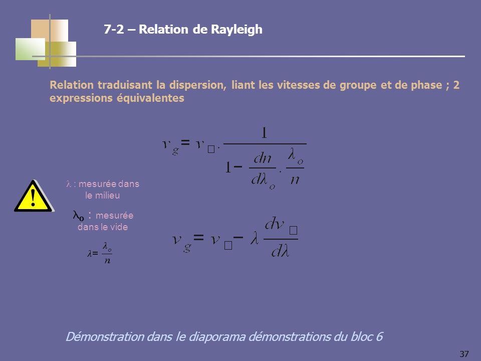 37 Relation traduisant la dispersion, liant les vitesses de groupe et de phase ; 2 expressions équivalentes 7-2 – Relation de Rayleigh Démonstration dans le diaporama démonstrations du bloc 6 : mesurée dans le milieu o : mesurée dans le vide
