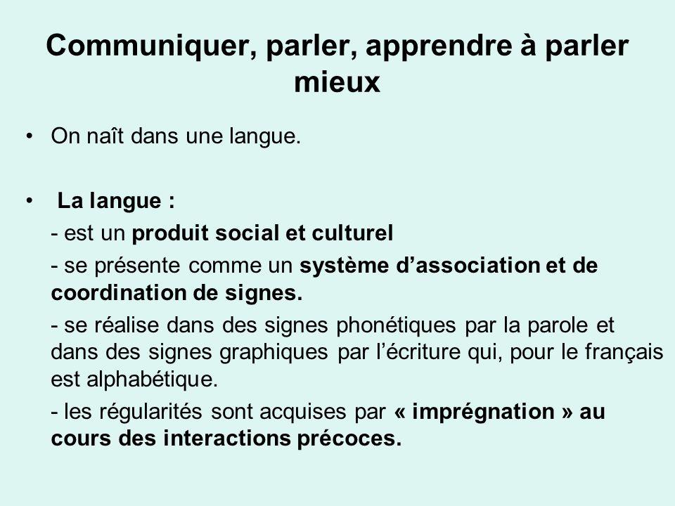 Communiquer, parler, apprendre à parler mieux On naît dans une langue. La langue : - est un produit social et culturel - se présente comme un système