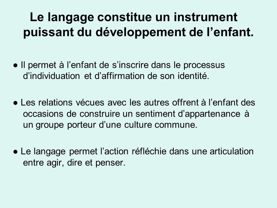 Le langage constitue un instrument puissant du développement de lenfant. Il permet à lenfant de sinscrire dans le processus dindividuation et daffirma