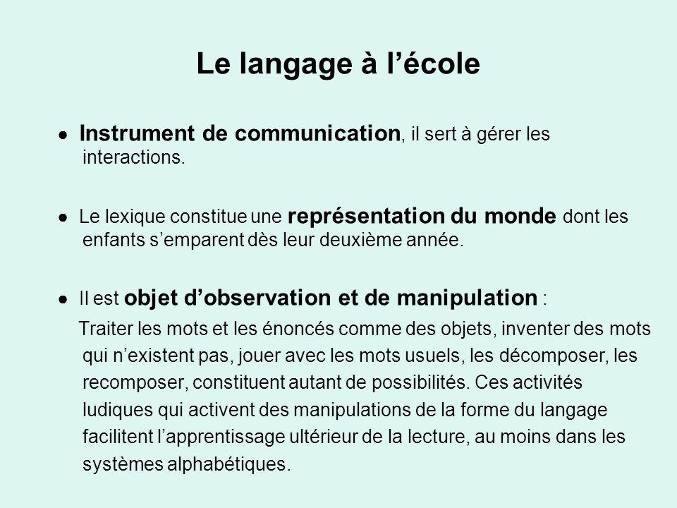 Le langage à lécole Instrument de communication, il sert à gérer les interactions. Le lexique constitue une représentation du monde dont les enfants s