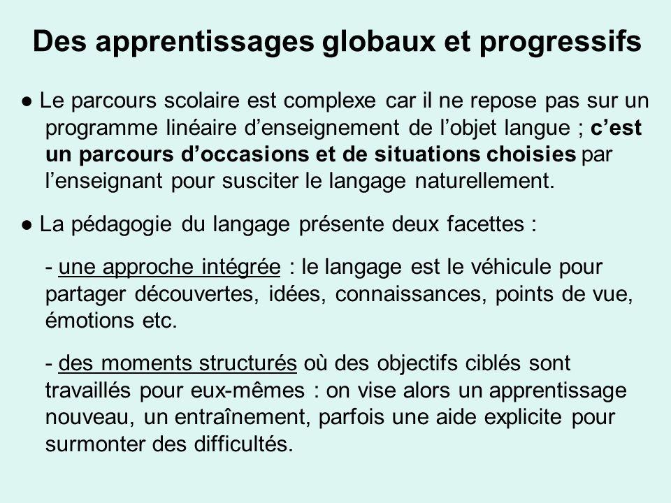Des apprentissages globaux et progressifs Le parcours scolaire est complexe car il ne repose pas sur un programme linéaire denseignement de lobjet lan