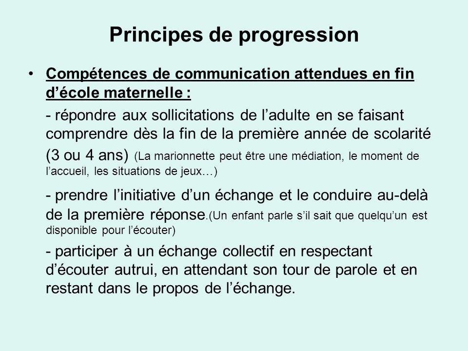 Principes de progression Compétences de communication attendues en fin décole maternelle : - répondre aux sollicitations de ladulte en se faisant comp