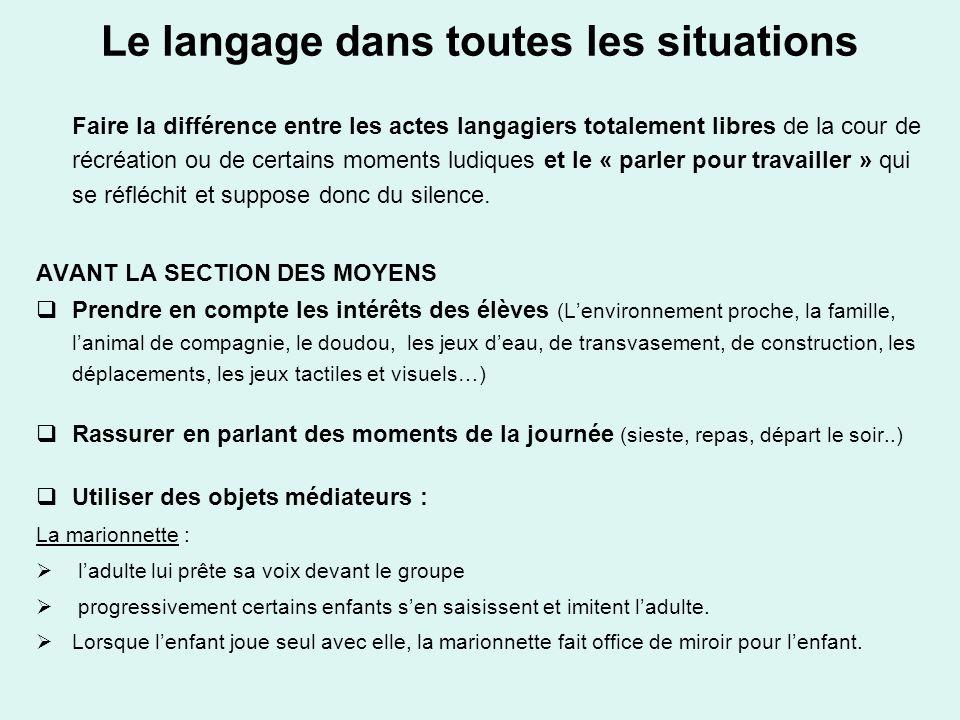Le langage dans toutes les situations Faire la différence entre les actes langagiers totalement libres de la cour de récréation ou de certains moments