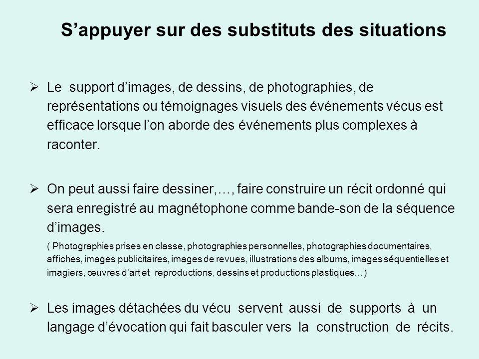 Sappuyer sur des substituts des situations Le support dimages, de dessins, de photographies, de représentations ou témoignages visuels des événements