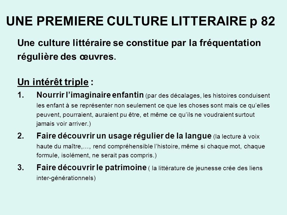 UNE PREMIERE CULTURE LITTERAIRE p 82 Une culture littéraire se constitue par la fréquentation régulière des œuvres. Un intérêt triple : 1.Nourrir lima