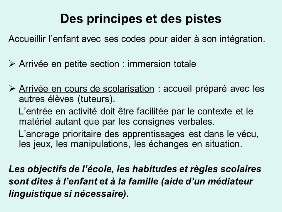 Des principes et des pistes Accueillir lenfant avec ses codes pour aider à son intégration. Arrivée en petite section : immersion totale Arrivée en co
