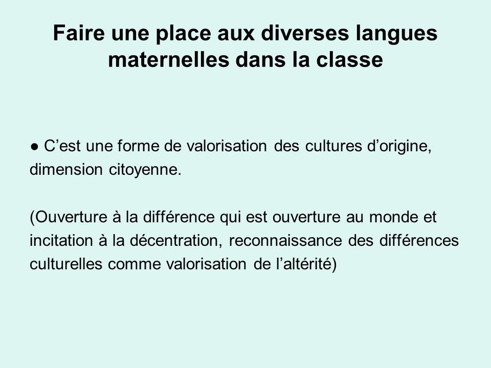 Faire une place aux diverses langues maternelles dans la classe Cest une forme de valorisation des cultures dorigine, dimension citoyenne. (Ouverture