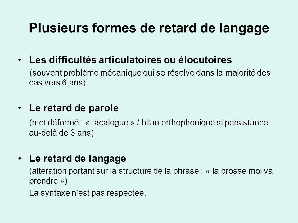 Plusieurs formes de retard de langage Les difficultés articulatoires ou élocutoires (souvent problème mécanique qui se résolve dans la majorité des ca