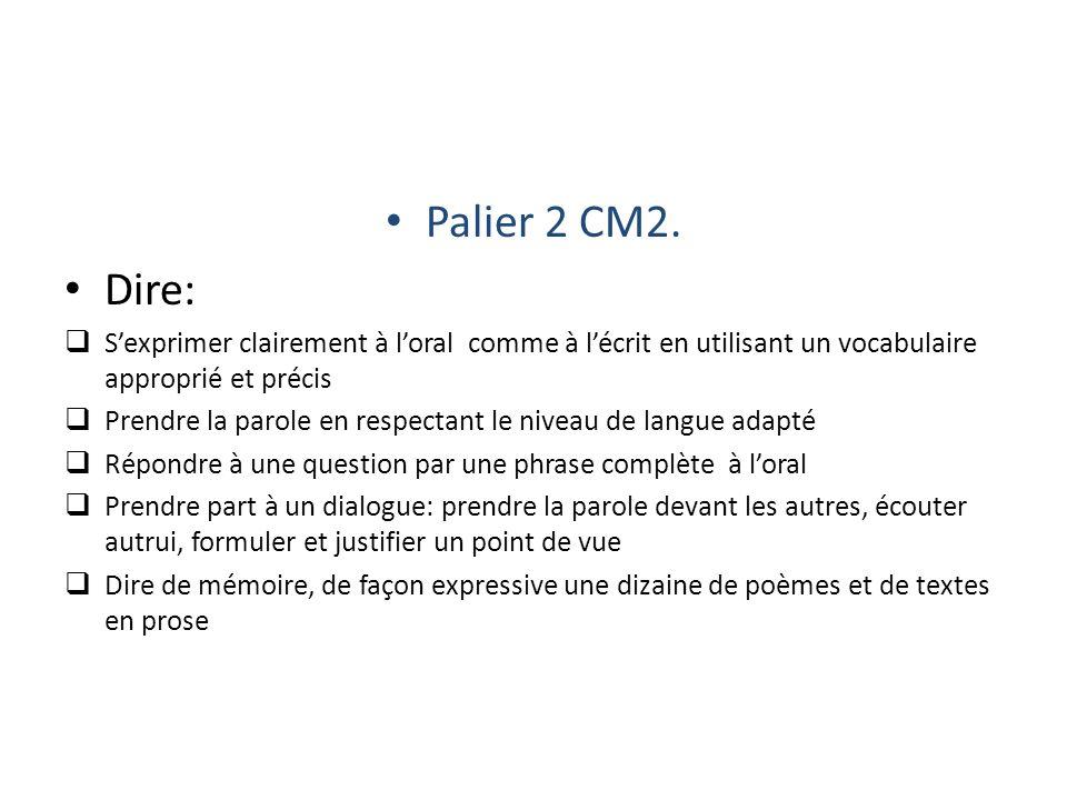 Palier 2 CM2. Dire: Sexprimer clairement à loral comme à lécrit en utilisant un vocabulaire approprié et précis Prendre la parole en respectant le niv