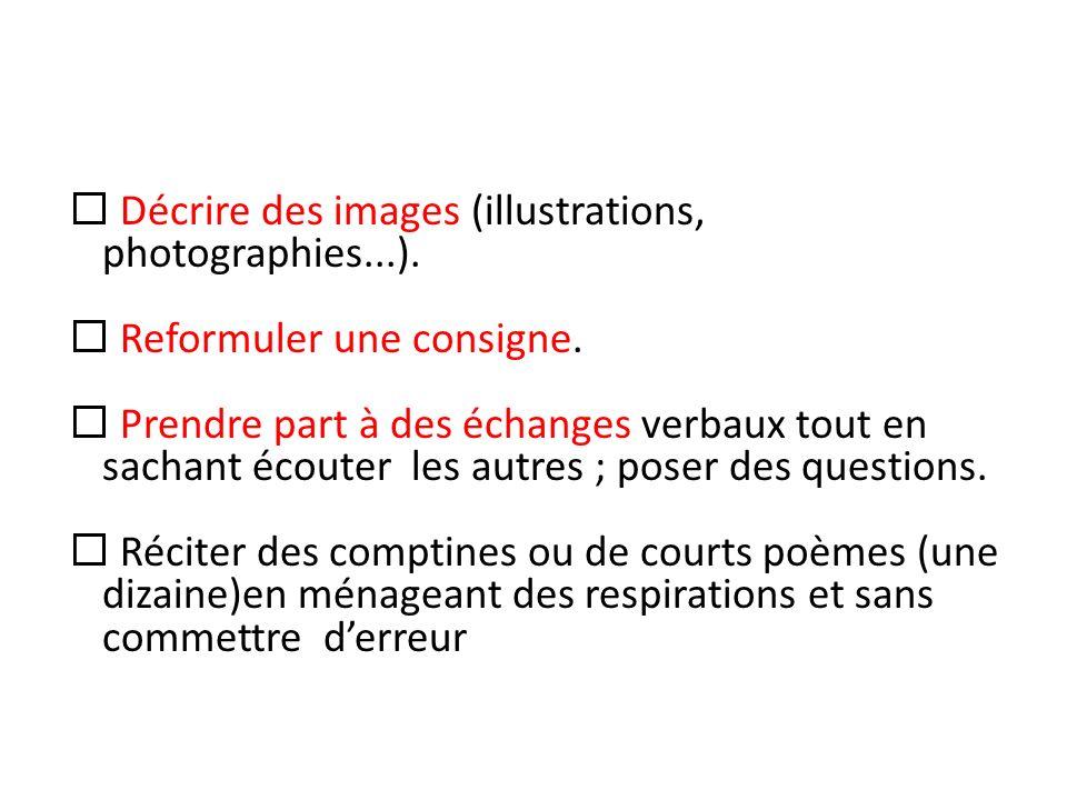 Décrire des images (illustrations, photographies...). Reformuler une consigne. Prendre part à des échanges verbaux tout en sachant écouter les autres