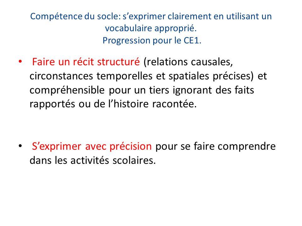 Compétence du socle: sexprimer clairement en utilisant un vocabulaire approprié. Progression pour le CE1. Faire un récit structuré (relations causales