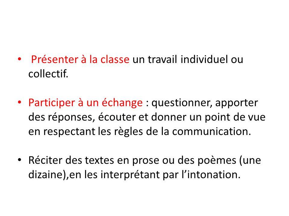 Présenter à la classe un travail individuel ou collectif. Participer à un échange : questionner, apporter des réponses, écouter et donner un point de
