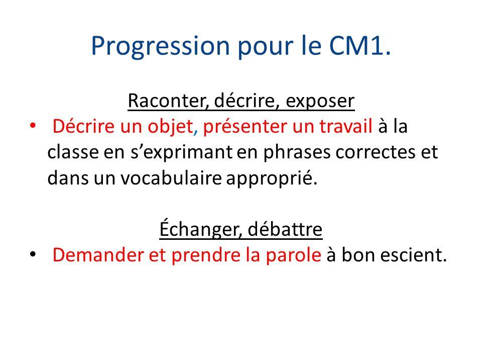 Progression pour le CM1. Raconter, décrire, exposer Décrire un objet, présenter un travail à la classe en sexprimant en phrases correctes et dans un v