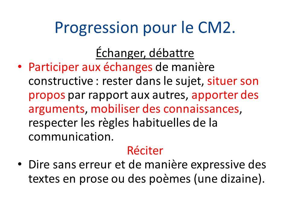 Progression pour le CM2. Échanger, débattre Participer aux échanges de manière constructive : rester dans le sujet, situer son propos par rapport aux