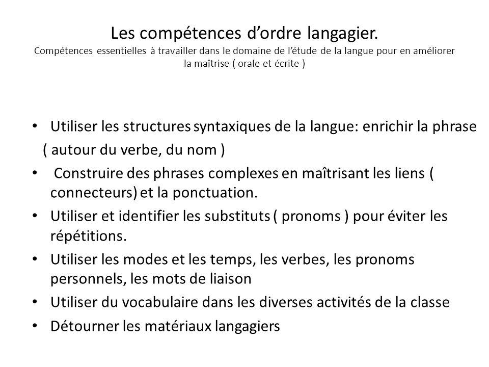 Les compétences dordre langagier. Compétences essentielles à travailler dans le domaine de létude de la langue pour en améliorer la maîtrise ( orale e
