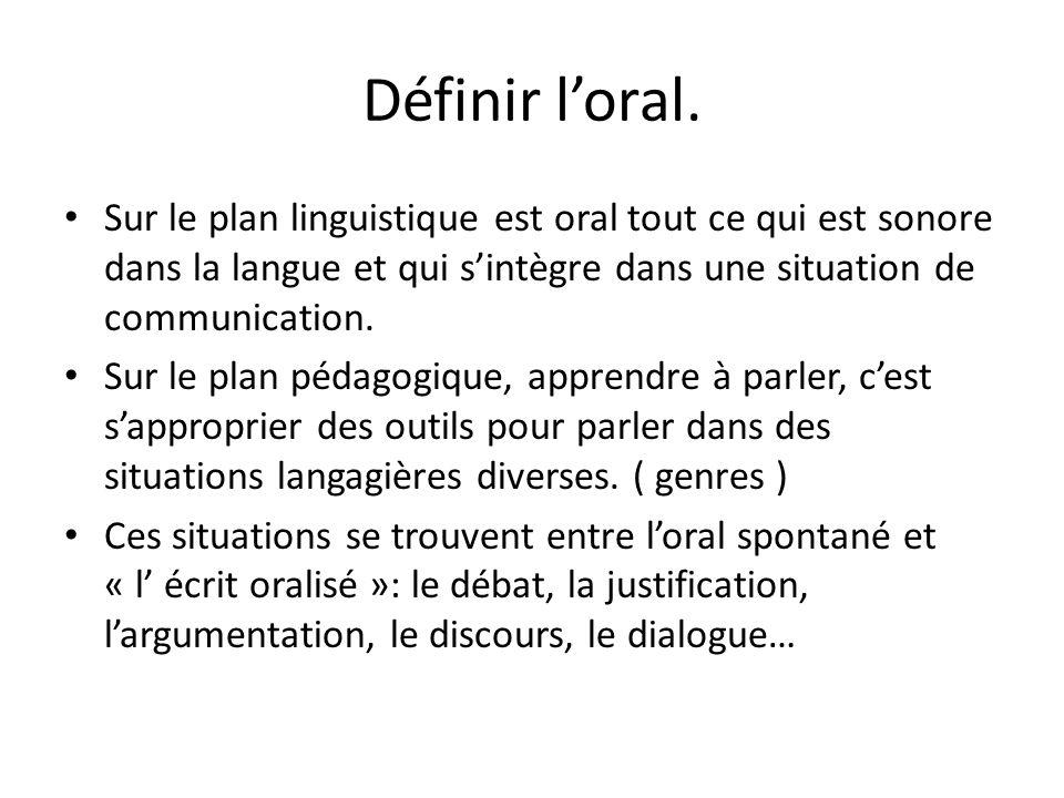 Définir loral. Sur le plan linguistique est oral tout ce qui est sonore dans la langue et qui sintègre dans une situation de communication. Sur le pla