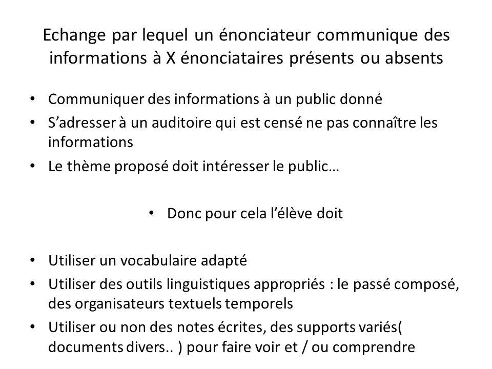 Echange par lequel un énonciateur communique des informations à X énonciataires présents ou absents Communiquer des informations à un public donné Sad